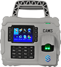 CAMS : Waterproof Fingerprint Attendance System - Carriable by hand and GRPS enabled,The R902 is a unique portable fingerprint time attendance terminal with a rubber coating. It is specifically designed for off-site time management, such as construction sites, logistic industries, large farms, and the mining industry. Adopting a rubber coating process, its waterproof and dustproof efficacy reached an IP65 protection grade. There is a handle at the top of the rubber coating, which enables users to carry it easily. Above all, this is shockproof (1m above the ground) due to its unique rubber coating. It works with <b>GPRS</b>.