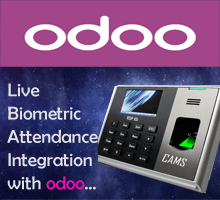 CAMS : Realtime Biometric Attendance Management,This module helps to integrate the biometric attendance system with Odoo server on real-time basis. No software or desktop is required for the setup. Only device should be connected online all the time to ensure the realtime communication.	