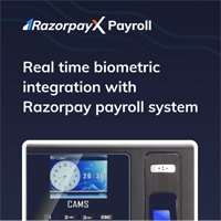 """CAMS : Biometric Integration with Razorpay Payroll System,This module integrates your biometric device with Razorpay's <a href=""""https://razorpay.com/payroll?r=cams"""" alt=""""cams biometric integration with razorpay payroll system"""">payroll software</a>.  As part of this integration, share the serial number of your biometric device with Razorpay once the service has been purchased. <br><br> Under this module, Attendance and Management API Activation and Yearly license are automatically added.  <br><br>For any Razorpay related queries, contact razorpay."""