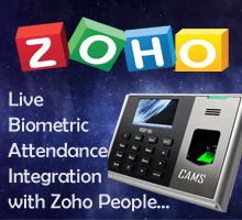 "CAMS : Biometric Integration with Zoho People,This module helps to integrate the biometric attendance system with zoho people on real-time basis. No software or desktop is required for the setup. Only auth toke  should be created using ""https://accounts.zoho.com/apiauthtoken/create?SCOPE=zohopeople/peopleapi"" and shared to support@camsunit.com along with the transaction id of the purchase. And device should be connected online all the time to ensure the realtime communication.	
